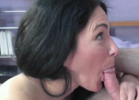 Cleo on her knees and sucking cock