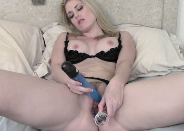 Blonde wife Alexandra fucks two toys
