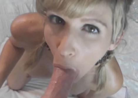 Jolene masturbates and swallows a cock