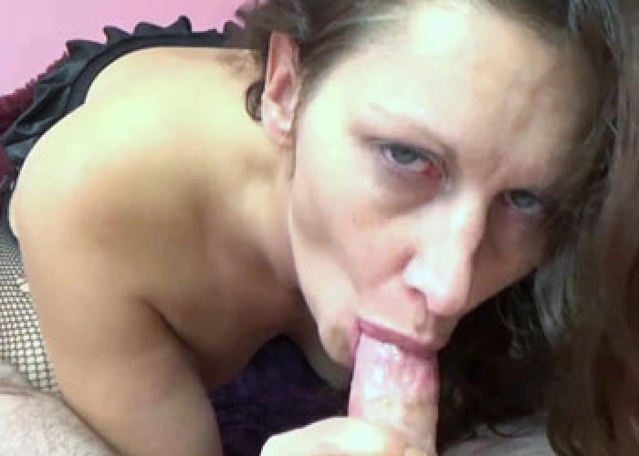 Mature slut swallows cum