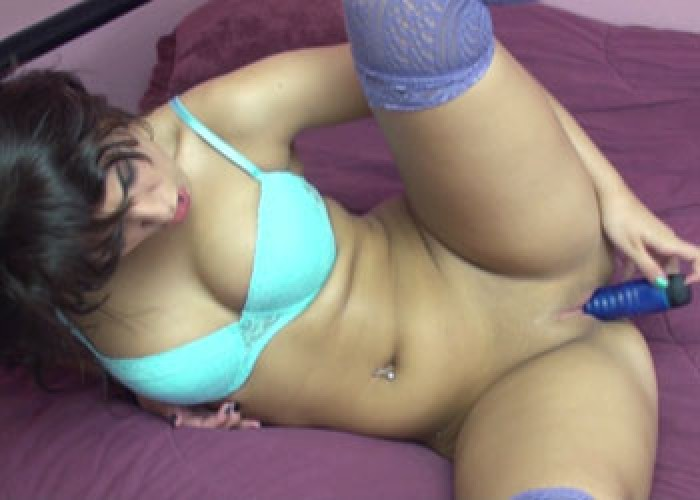 Bella in blue stockings